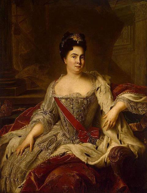 1717-portrait of Catherine I of Russia by Jean-Marc Nattier