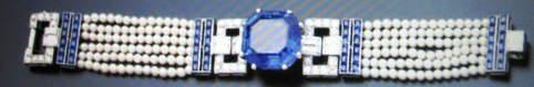 The 35.54 carat Ceylon sapphire, pearl and diamond bracelet