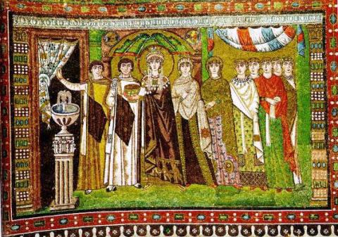 Ravenna mosaic showing Empress Theodora and her attendants