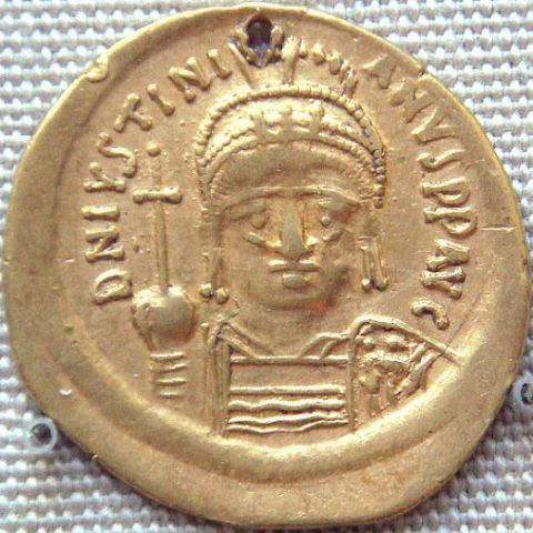 Gold Coin of Justinian I excavated in South India