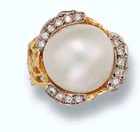 A Cultured Pearl and Diamond Ring by John Donald- Princess Margaret's Collection