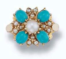 A cultured pearl and turquoise cluster ring