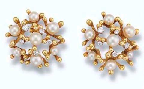 A Pair of Cultured Pearl and Diamond Earclips by John Donald