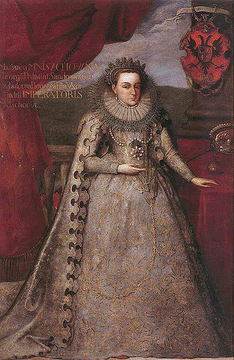 A second portrait of Tsarina Marina Mniszech in coronation robes by Szymon Boguszowicz currently in the Wawel Royal Castle, Krakow, Poland