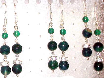 Green Agate Gemstone Eardrop Jewelry