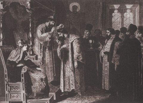 Aleksey Kivshenko painting (1851-96) titled Feodor Ivanovich presents a golden chain to Boris Godunov