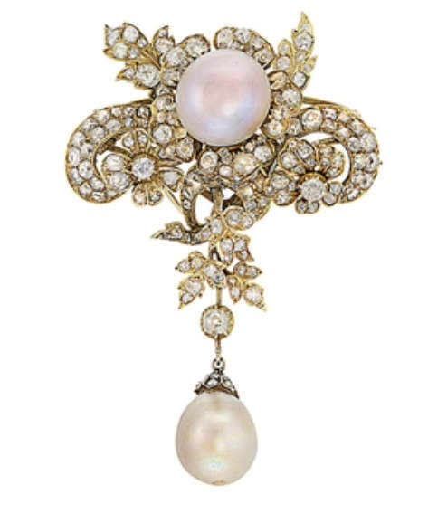 An attractive antique natural pearl and diamond pendent brooch