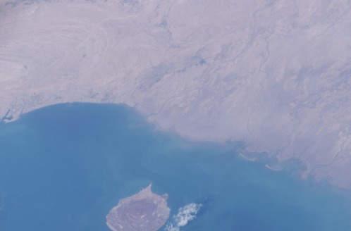Hormuz Island and Bandar Abbas- Satellite Photo taken by NASA in 2003