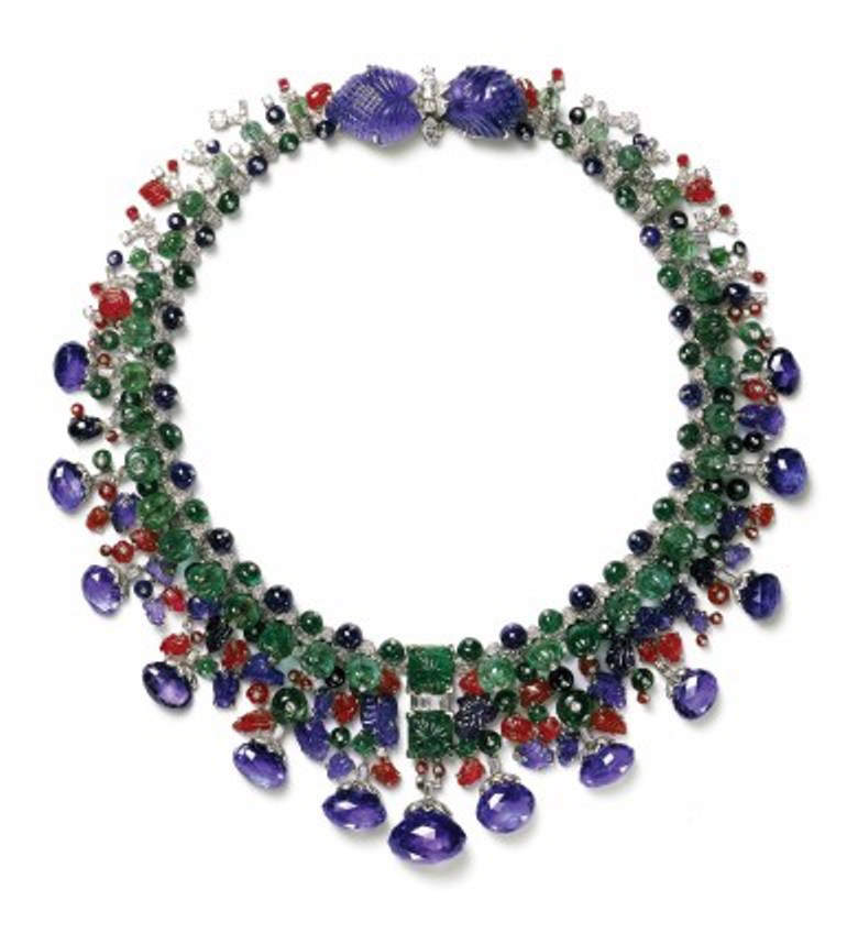 Modern Cartier Hindu Necklace made of diamonds, sapphires, emeralds and rubies, based on the original Hindu Necklace of the Maharajah of Baroda