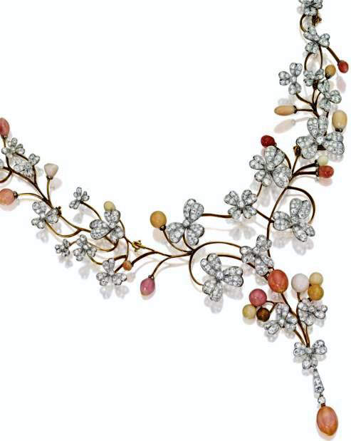 Meandering Wine Diamond and Conch Pearl Necklace