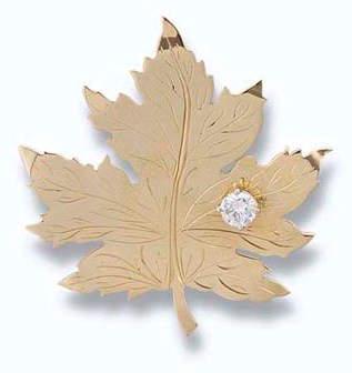 Diamond-set Maple Leaf Brooch