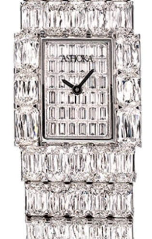 Ashoka diamond watch in platinum