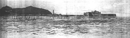 Drawing of the old town of Hormuz by A W Stiffe, with the fort on the right and a mosque minaret to the left