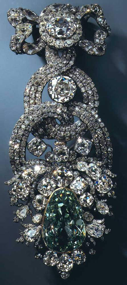 The Dresden Green Diamond in the hat clasp ornament