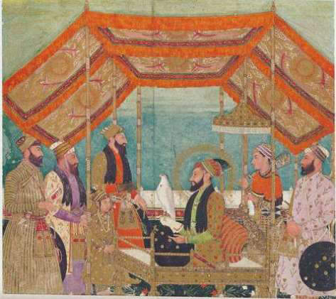 Emperor Aurangzeb holding court seated on a golden throne.Shaista Khan stands behind prince Muhammad Azam. The Emperor is holding a hawk with his right hand