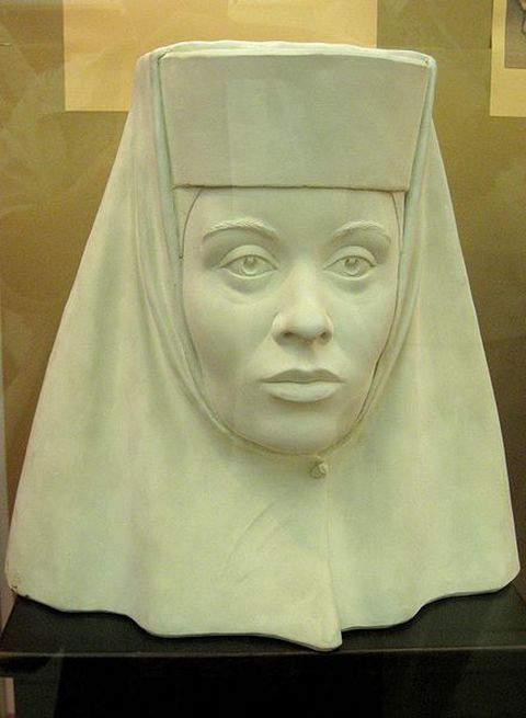 Forensic facial reconstruction of Irina Feodorovna Godunova depicting her as a nun after she entered the Novodevichy Monastery