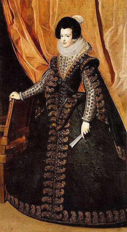 Formal portrait of Elizabeth of France by Diego Velazquez painted between 1630 to 1644