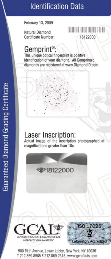 diamond certificate gcal special below reports