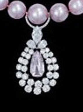 Close-up view of the pendant of Graff Pearl and Diamond Necklace
