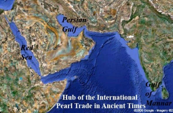 Hub of the international pearl trade in ancient times,persian gulf,red sea and gulf of mexico