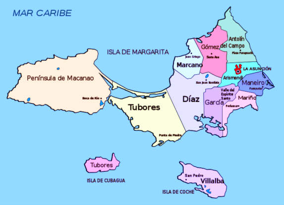 Islands of Margarita, Cubagua and Coche off the coast of Venezuela discovered by Christopher Columbus in 1498