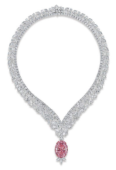 Juliet Pink Diamond set as a pendant to a diamond necklace designed by L. J. West