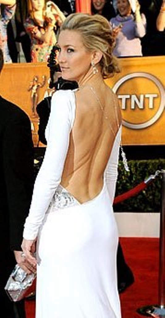 Kate Hudson wearing a backless Emilio Pucci dress and a Cartier diamond sautoir necklace worn down her back at the Screen Actors Guild Awards, 2010