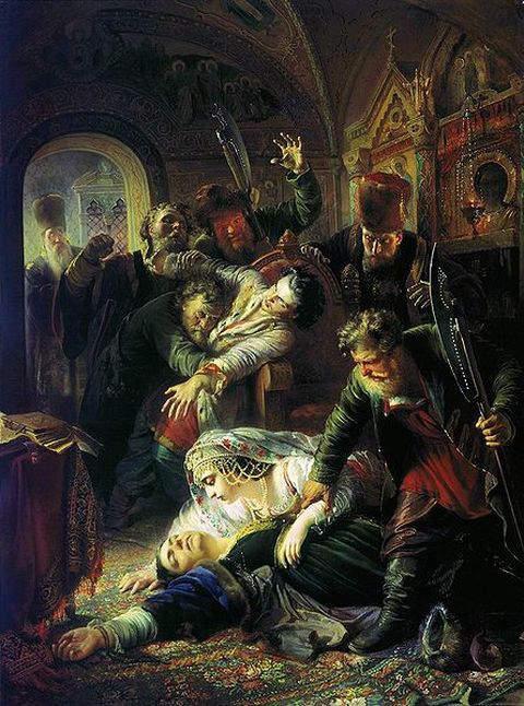 Konstantin Makovsky's 1862-painting of the murder of Feodor Godunov and his mother Maria Grigorievna Skuratova-Belskaya by the agents of False Dmitry