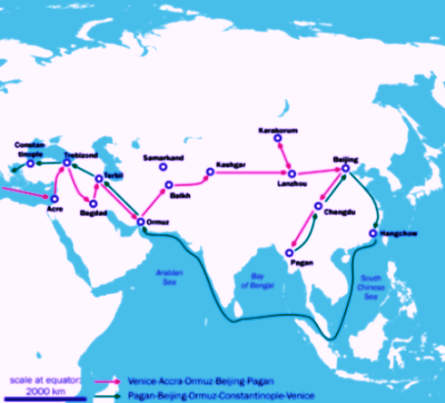 Map of Marco Polo's Journey from 1271 to 1295