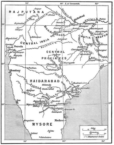 Map of the diamond fields of India