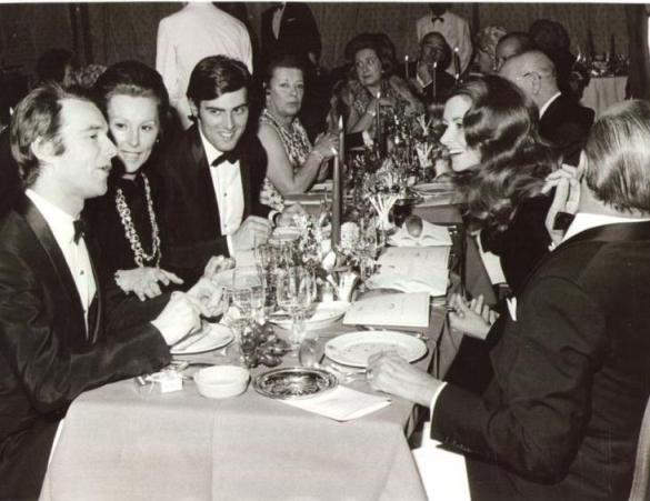 Maria Girani with her children and step-children at a dinner part in Monte Carlo. On her left side is her stepson Amedeo Angiollilo and on her right side her own son Marco Millela