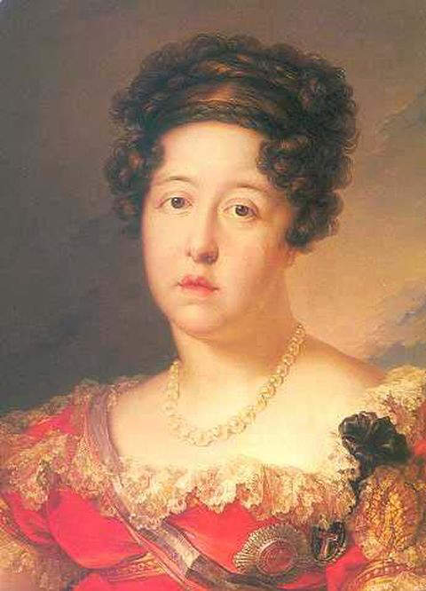 Maria Isabel of Portugal, Queen consort of Ferdinand VII, King of Spain - Portrait by Vincent Lopez between 1816-1818