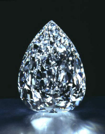 The Millennium Star is a 203.04-carat, D-color, pear-shaped, diamond with an internally flawless clarity grade (IF).