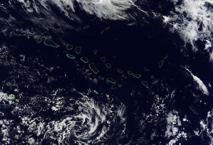 NASA's satellite image of the northwestern part of the Tuamotu Archipelago