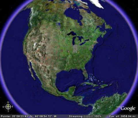 Satellite View of North Atlantic Coastline - Google Earth Image