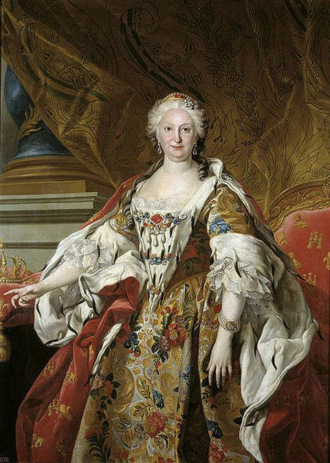 Official portrait of Elizabeth Farnese, Queen consort of Philip V, by Louis-Michel van Loo in 1739
