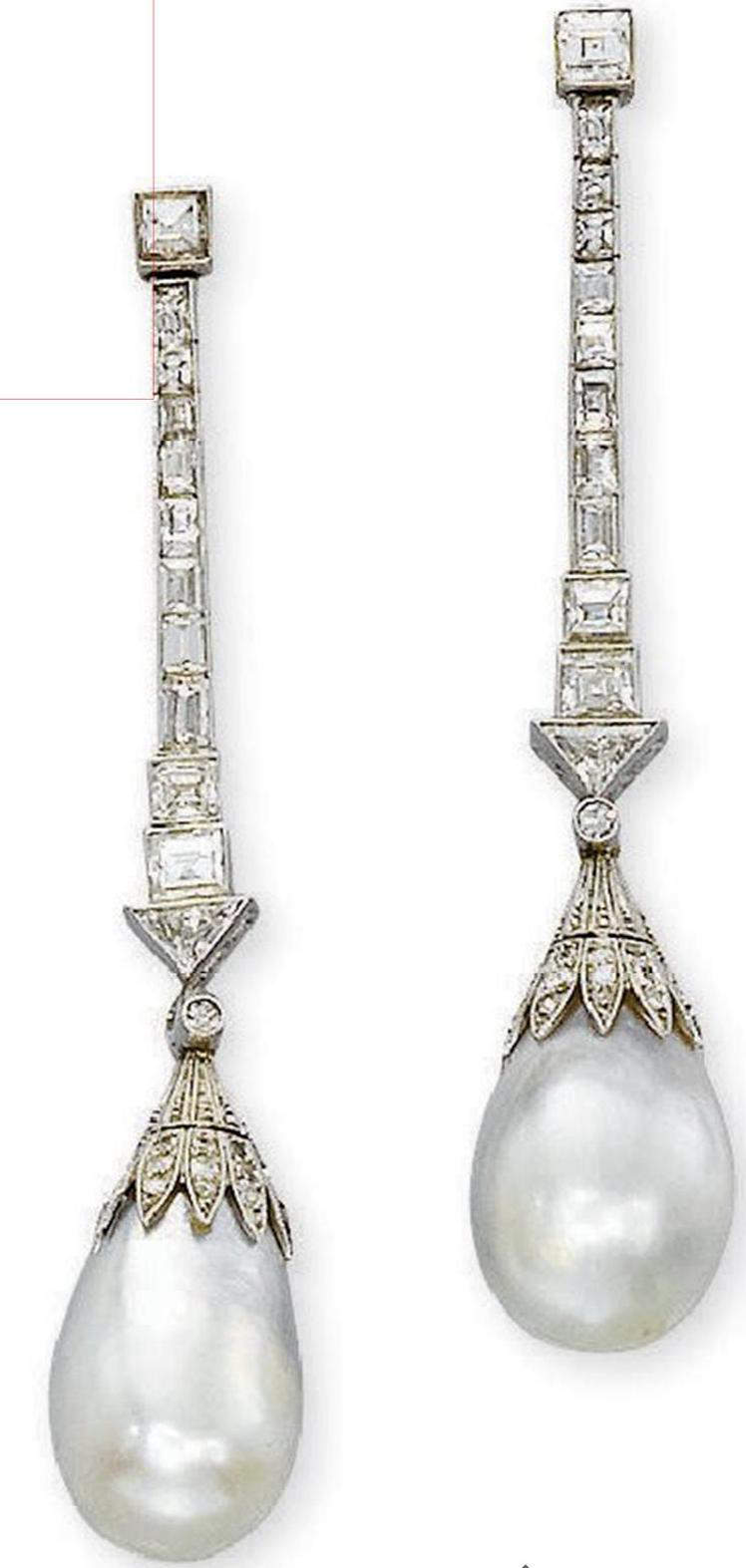 Pair of natural pearl & diamond ear pendants