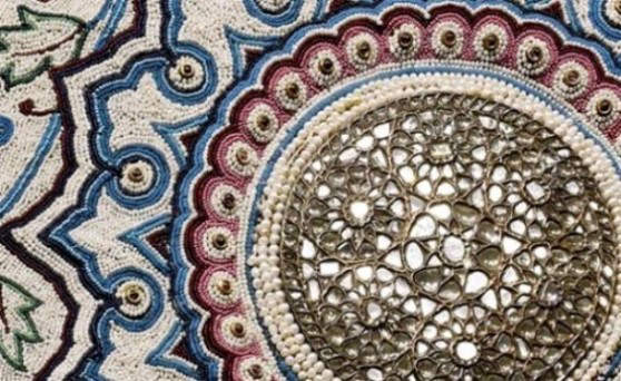 Close up of central rosette of the Pearl Carpet of Baroda