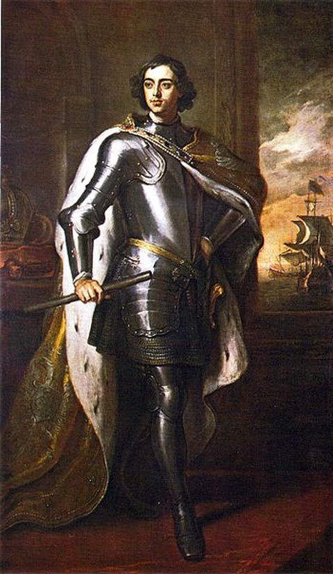 Portrait of Peter the Great painted by Godfrey Kneller during his visit to England in 1698