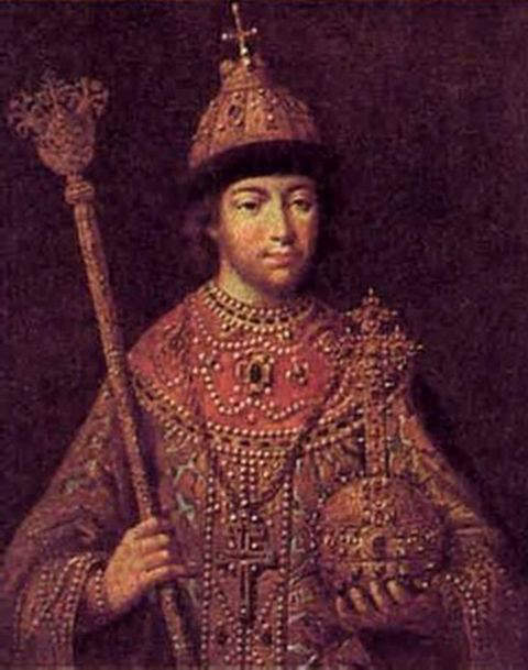Portrait of Tsar Michael I of Russia by unknown artist depicting him with the coronation regalia of the Tsardom of Russia