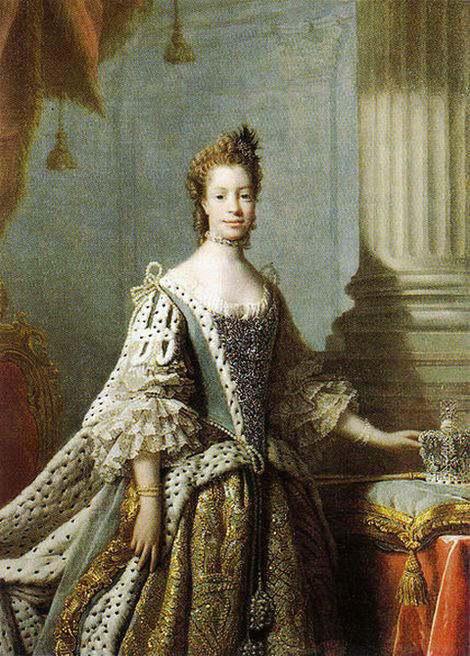 Portrait of Queen Charlotte, consort of King George III, by studio of Allan Ramsay in 1762