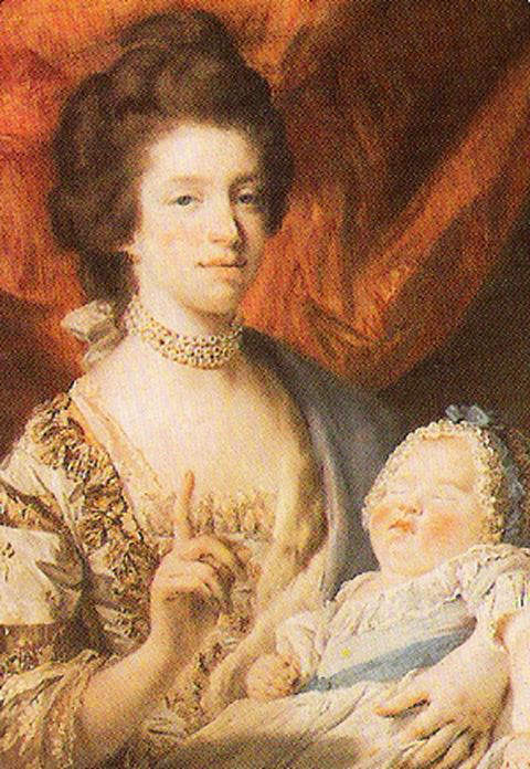 Queen Charlotte in 1767 wth her eldest daughter Charlotte, Princess Royal