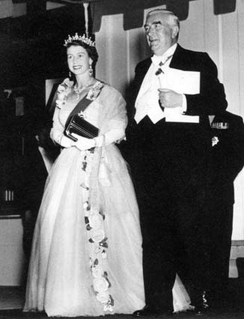 Queen Elizabeth with Sir Robert Menzies, the Prime Minister of Australia in 1954