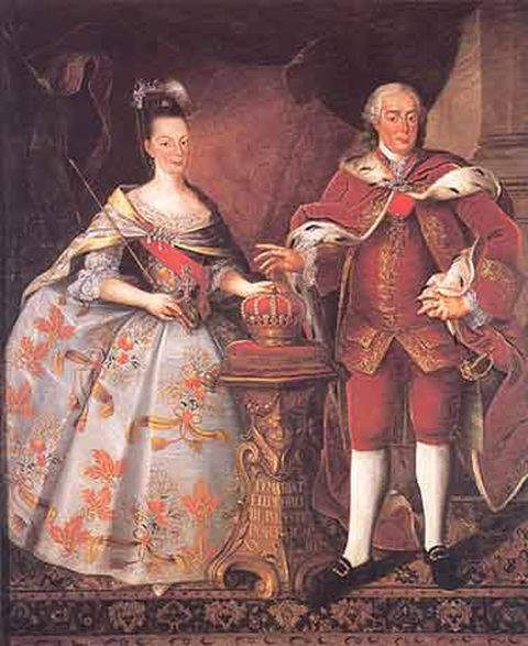 Queen Dona Maria I of Portugal with her husband Pedro III