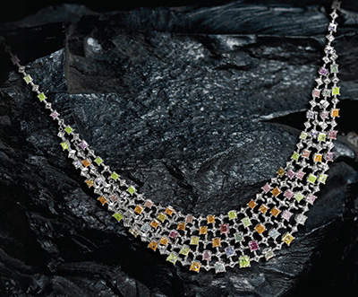 Rainbow necklace featuring over 100 radiant-cut, natural fancy colored diamonds with a total weight of 35.93 carats