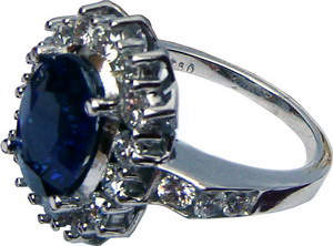 Cluster ring with Ceylon(Sri Lanka)blue sapphire and diamonds set in white gold