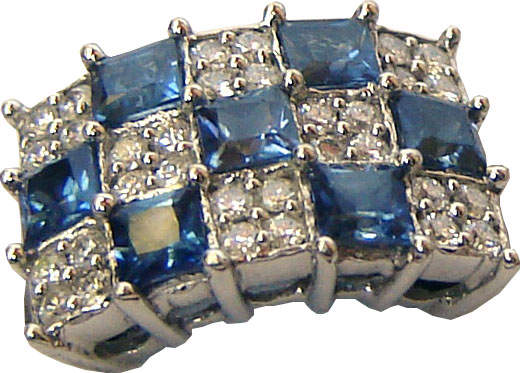 Rectangular ring with three rows lengthwise and five rows breadthwise,consisting of alternating blue sapphires and diamonds