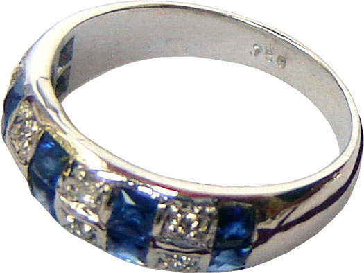 Ring with two linear rows consisting of alternating Ceylon blue sapphires and diamonds set in 18k white gold.