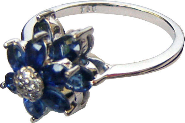An eye-catching beautiful floral design with Ceylon blue sapphires anddiamonds set in 18ct white gold.