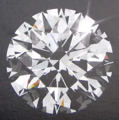 A round brilliant cut diamond (Top or table view)